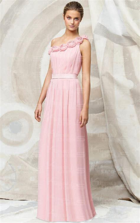 Cheap Pink A Line One Shoulder Natural Waist Chiffon Floor