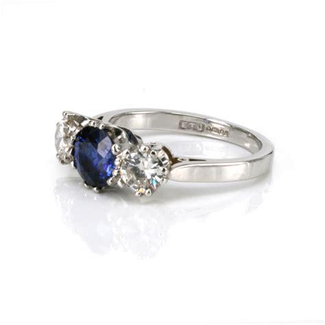 platinum sapphire  diamond engagement ring