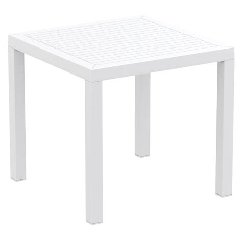 ares resin outdoor dining table 31 inch square white