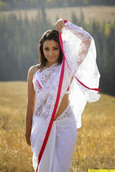 Actress Trisha Hot Navel Exposing In White Saree Photos ...