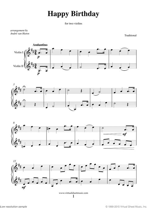 Traditional music of unknown author. Happy Birthday sheet music for two violins PDF-interactive