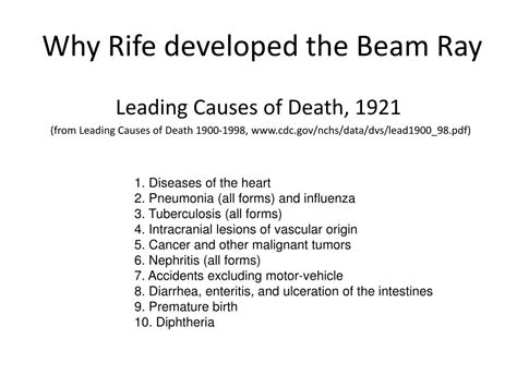 Ppt A Ray Of Death Or The Death Of Ray The Rife