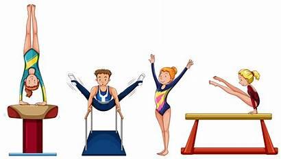 Gymnastics Doing Equipment Vector Different Illustration Cartoon