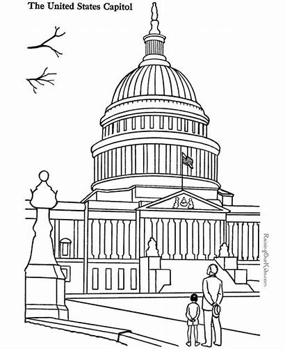 Capitol Building Coloring Pages Landmarks Places Around