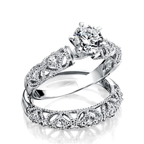925 silver vintage 75ct round cz engagement wedding ring set