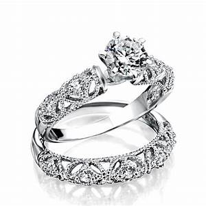 925 silver vintage 75ct round cz engagement wedding ring set With bridal wedding rings