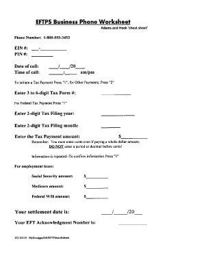 eftps phone payment worksheet kidz activities