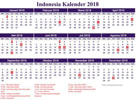 13 Desain Kalender Indonesia 2018 Lengkap Dengan Hari
