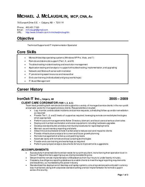 linked in resume michael j mc laughlin technical