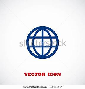 Earth Globe Flat Icon On White Stock Vector 432533452 ...
