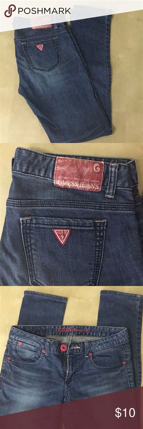 guess straight jeans  pink decoration straight jeans
