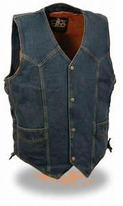 Men U0026 39 S Blue Denim Side Lace Biker Vest W   Classic Snap
