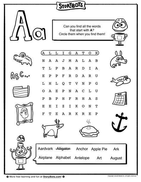 find words from letters letter a word find abc activity sheets storybots 22780