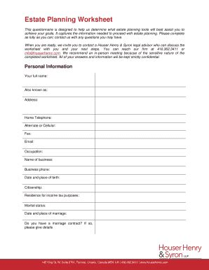 Estate Planning Worksheet  Houser Henry & Syron Llp Fill Online, Printable, Fillable, Blank