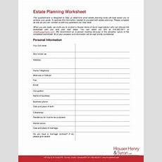 Estate Planning Worksheet  Houser Henry & Syron Llp Fill Online, Printable, Fillable, Blank