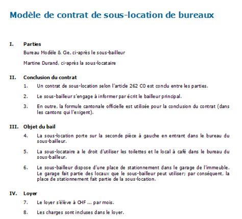 bail de bureau modele exemple bail commercial sous location document