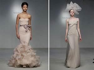 blush pink mermaid vera wang wedding dress and silk taupe With taupe wedding dress