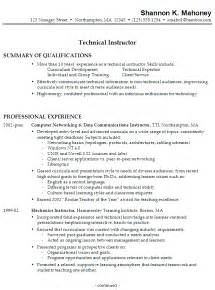 resume education no degree resume sle for a technical instructor susan ireland resumes