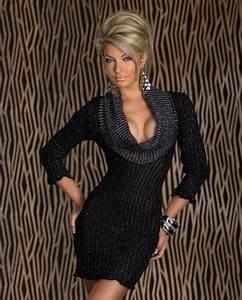 robe pull femme noir brillant manches longues tendance par With robe pull noire