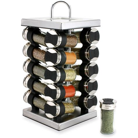 kitchen canister sets stainless steel olde thompson stainless steel 20 jar revolving spice rack