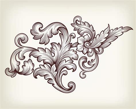vintage baroque floral scroll ornament vector stock vector