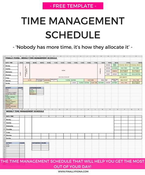 Time Management Schedule Template Free by Doc 600730 Time Schedule Template Time Schedule
