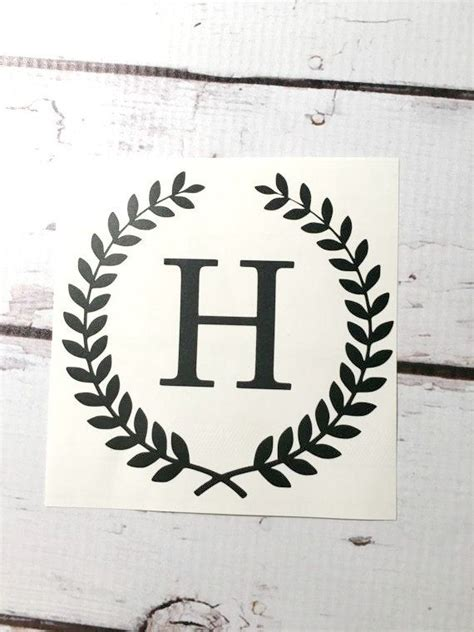 wheat wreath monogram vinyl decal laurel border small initial sticker custom letter decal