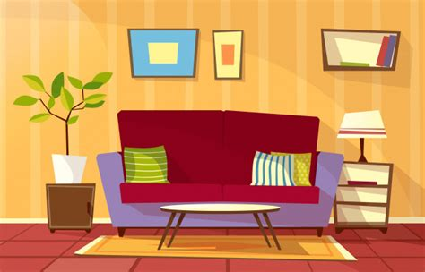cartoon living room interior background template cozy