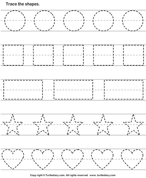 trace the shapes worksheet turtle diary 471 | trace the shapes