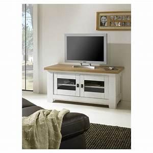 Meuble Tv Rustique : meuble tv rustique 2 portes vitr es ~ Nature-et-papiers.com Idées de Décoration