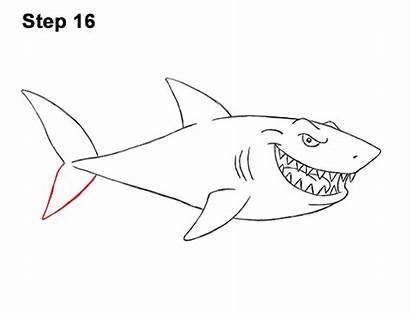 Shark Draw Cartoon Step Tail Fin Should