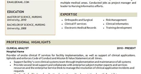 clinical analyst resume exle http www resume