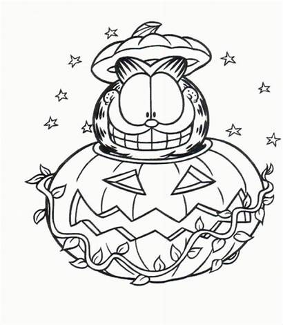 Coloring Halloween Pages Garfield Disney Sitting Pumpkin