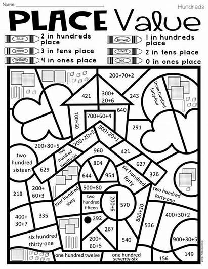 Value Place Coloring Math Grade Worksheets Activities