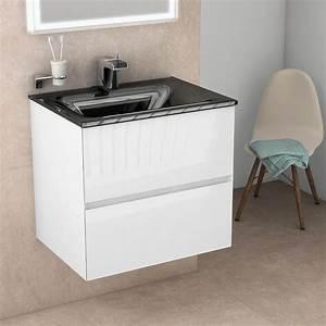 Meuble salle de bain 61 cm blanc brillant, vasque verre noir, Kyoto L
