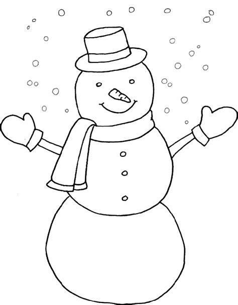 Sneeuwman Kleurplaat Simpel by Kleurplaten Winter
