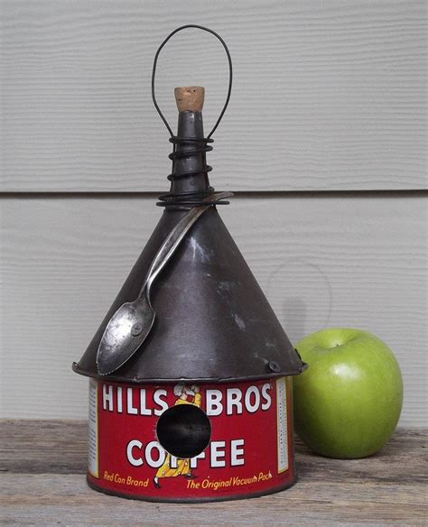 Drip coffee and cold brew ($2.75 to $4). Coffee can birdhouse whimsical birdhouse funnel roof red