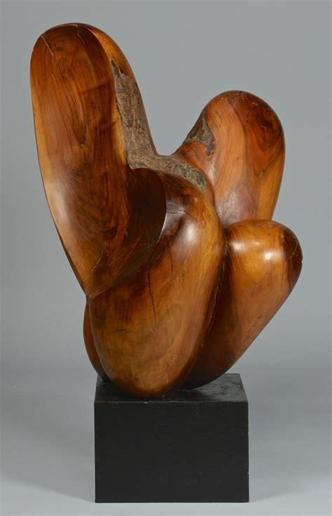 lot  abstract modern burl wood sculpture