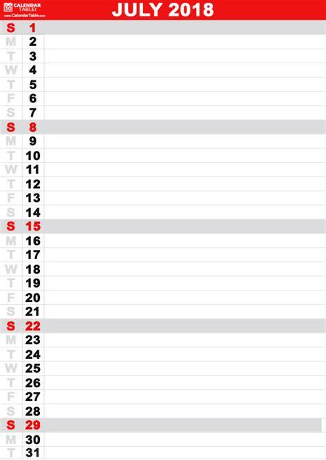 printable july  calendar calendar table