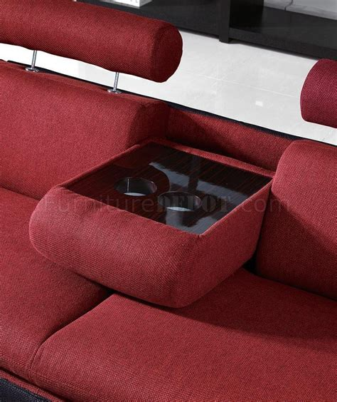 sectional sofa drink holder red fabric two tone modern sectional sofa w cup holders