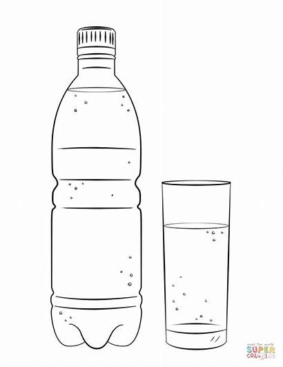 Coloring Bottle Water Printable Glass Botella Template