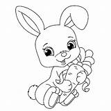 Rabbit Coloring Children Pages Print Funny Animals sketch template