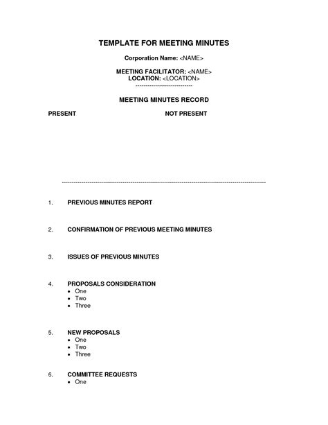 staff meeting minutes template word bagnas corporation
