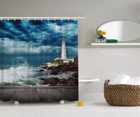 lighthouse shower curtain nautical lighthouse on rocky coast fabric