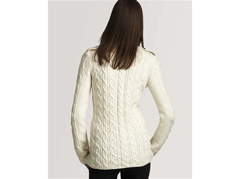 Burberry Brit Long Sleeve Cable Knit Sweater In White