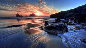 Beach, Horizon, During, Sunset, Hd, Nature, Wallpapers