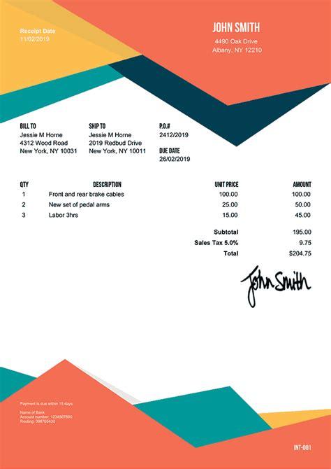 receipt templates print email receipt