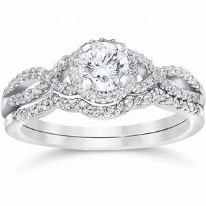 3 4ct diamond infinity engagement wedding ring set 14k for Wedding ring engagement ring set