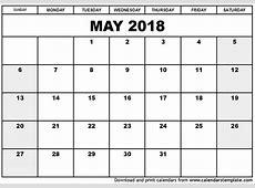 May 2018 Printable Calendar calendar doc