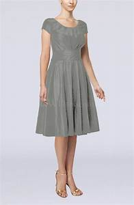 frost grey simple a line scoop short sleeve taffeta knee With grey wedding guest dress